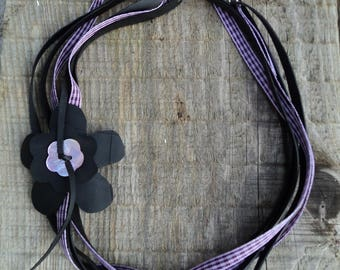 Necklace in inner tube recycled and purple Plaid Ribbon