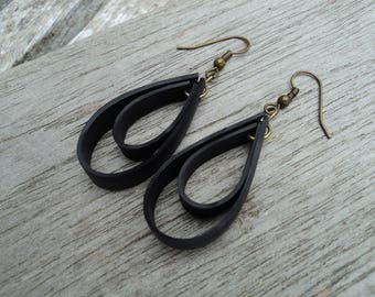 Recycled bicycle inner two loops and primer bronze earrings