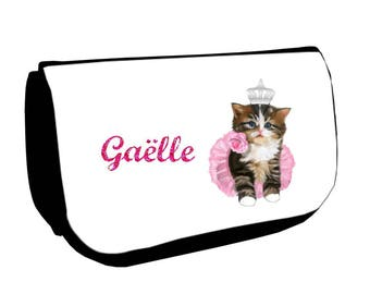 Black kitten /crayons make-up case personalized with name