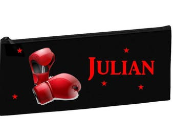Black school bag personalized with name boxing gloves