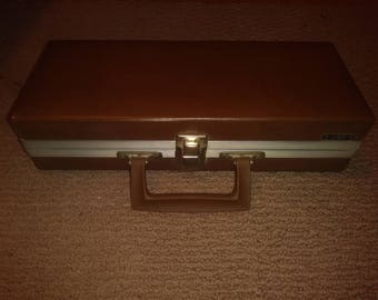 Vintage Savoy 15 Cassette Storage Carrying Case Briefcase Style Brown Made USA