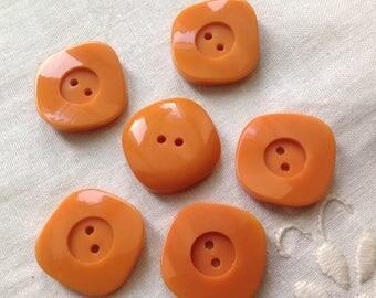 Set of six vintage buttons, 20mm diameter, saffron yellow