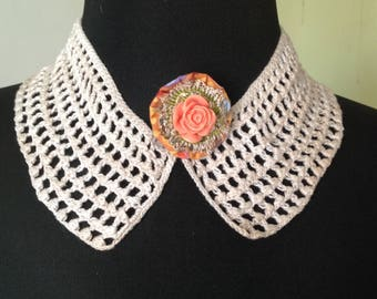 Small collar retro, brides, crochet, quite thick