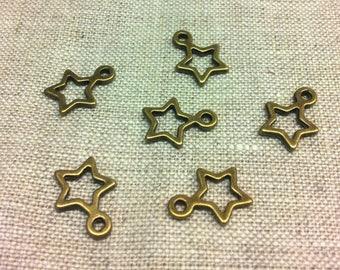 Set of 10 stars - T12 bronze metal charms
