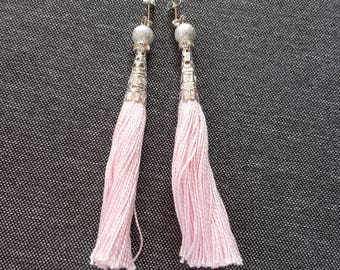Silver synthetic pearls, silver wire earrings