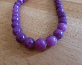 10 jade beads 8mm purple round