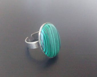 Bronze and malachite ring
