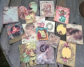10 nice labels/cards vintage decor, different sizes and models