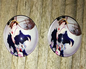 2 cabochons glass illustrated geisha 20mm (round)