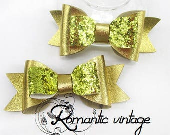 2 cute bows color shiny gold faux leather shiny, glitter 90 * 38mm