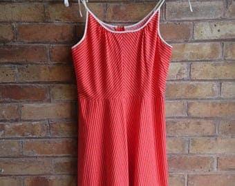 Vintage 70s red pinstripe sundress