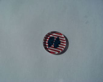 Beautiful 25 mm round and flat with his sailor image cabochon white and blue with big bow red stripe, anchor