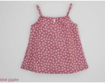 Tank top pink with white flowers