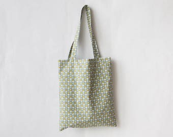 Patterns in shades of pale green printed cotton tote bag