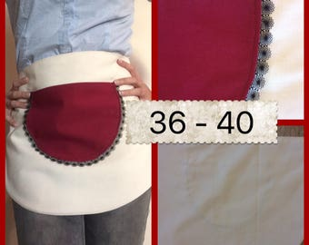 Burgundy and cream kitchen apron