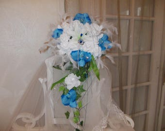 Blue and white with orchids and pink wedding jewelry bridal bouquets