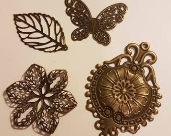 vintage 4 embellishments imitation bronze scrapbooking