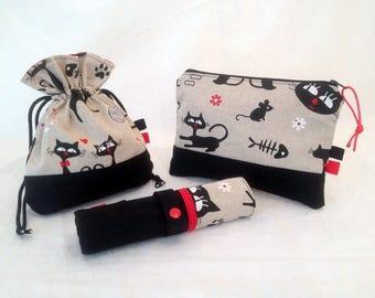 Set Kit pencils, Pocket and purse girl or woman