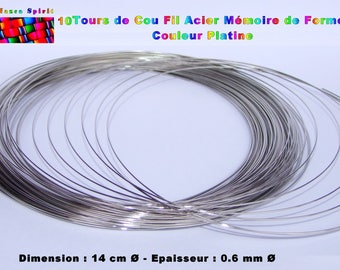 10 rounds necklace steel wire memory - necklace ∅ 14 cm - thickness: 0.6 mm ∅