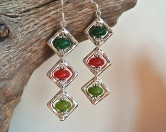Three Pearl jade tinted red and green earrings in their diamond silver metal frame, length