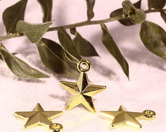 10 Star charms 3D colored metal effect Golden hot 16x14mm