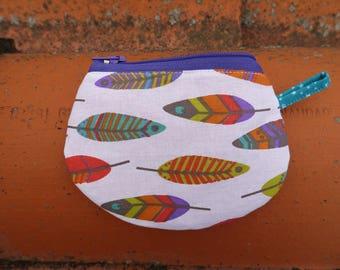 "Purse girl ""Feathers, multicolored dots"" 10 cm, double zipper"
