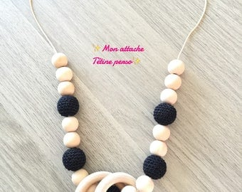 breastfeeding and Babywearing necklace ~ natural and black pattern