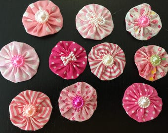 10 flowers kanzashi flower, yoyo to customize your creations, embellishment purse, hairclip, brooch, scrapbooking, flower