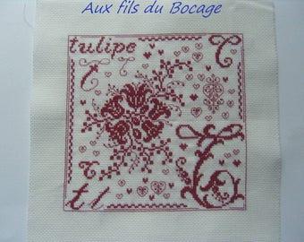 T Red monochrome Tulip cross stitch pattern
