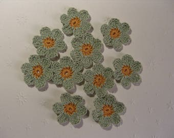 Crocheted appliques, set of 10, green and Tan flowers