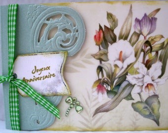 soft green floral birthday card