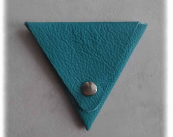 Triangle turquoise leather wallet