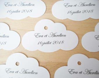 Mariage & Baptême - Lot 20 Etiquettes / marques places - forme nuage - Texte noir - étiquette papier personnalisable - plan de table