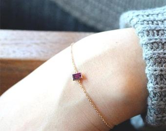 18K gold gemstone bracelet,garnet chain bracelet,rodholite garnet bracelet,rodholite garnet,january gift,january gemstone