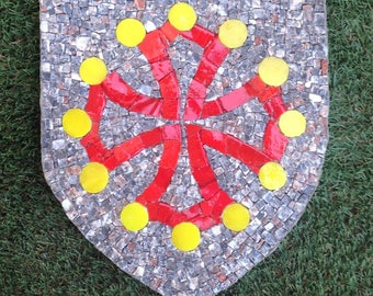 Painting mosaic Crest Occitan cross or cross of Languedo - marble - handmade glass Albertini - backed Wedi®
