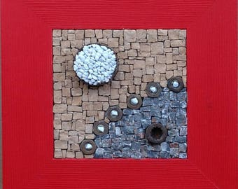 Small mosaic marble-terracotta - rusty metal - nuts - frame red wood