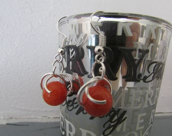 Peach JADE earrings