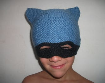 Hat mask super hero blue and Black 4/6 years knitted Handmade wool