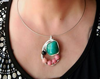 Green Amazonite beads rhodochrosites and