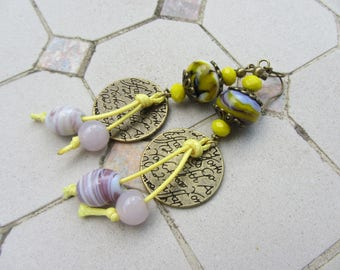 handmade earrings artisan glass beads and sequin etched bronze, bright yellow and purple cotton cord