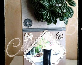 Romantic floral decorative Tin mirror and key ring