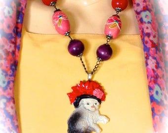 Necklace vintage colorful cat Hat Designer