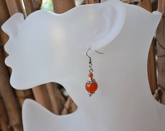 Carnelian beads and stainless steel earrings / stone of willpower