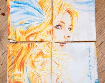 4 Napkins // Cotton fabric // Fairies sytle // Feminine portrait // 4 Serviettes de table // Tissu coton