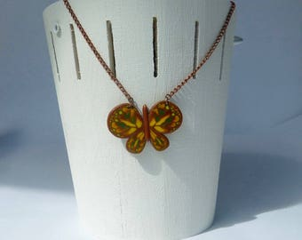 Necklace mid-length Butterfly brown yellow green and gold