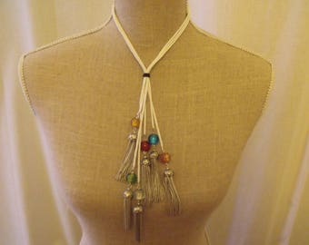 White Pearl Necklace glass and chain tassel