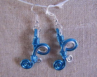 CLEARANCE alumunium turquoise and silver wire earrings