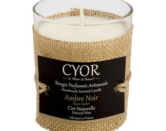 Candle SCENTED amber black 130g