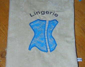 Embroidered linen lingerie bag/pouch