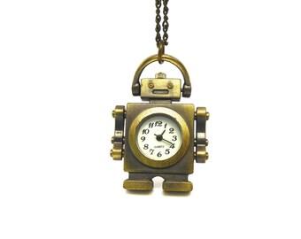 1 watch robot metal bronze 4.5 cm with chain 84cm